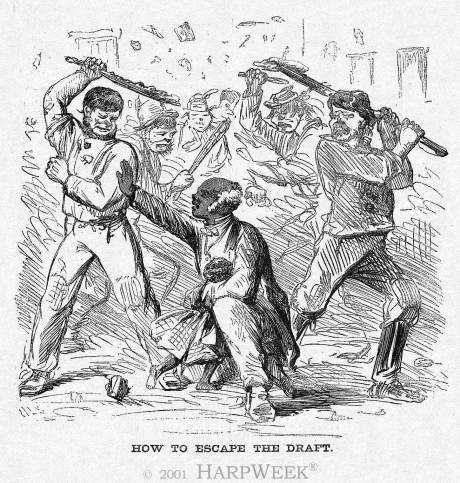 Cartoon posted in the newspaper Harper's Weekly after the draft, depicting a mob beating an elderly black man