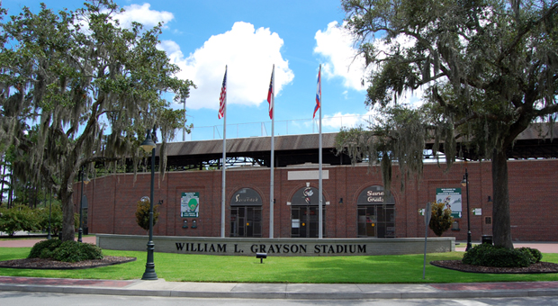 Grayson Stadium is the home field of the Savanah Bananas baseball team.