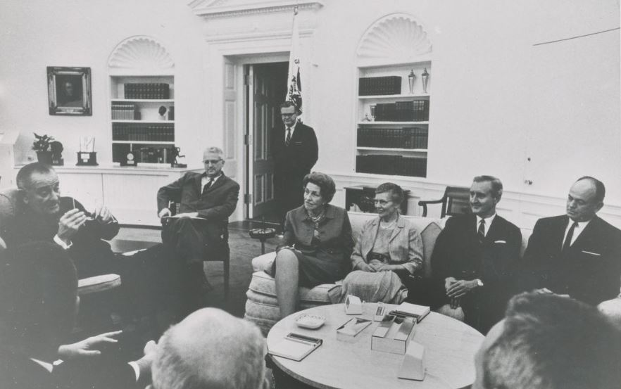 Dr. Sitterly meets with President Johnson at the White House, Spring 1966.