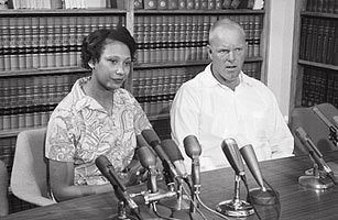 The Lovings during a press conference in D.C. as their case was heard by the United States Supreme Court.