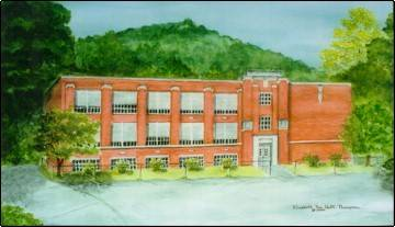 Painting of the historic school by Betty Gore Thompson