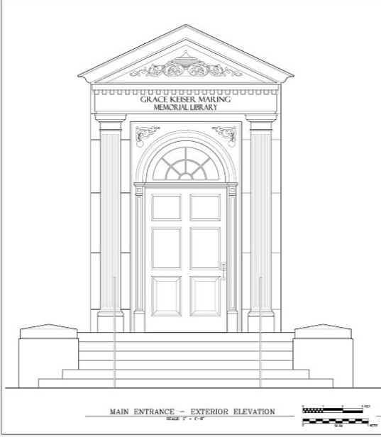 HABS drawing of main entrance on west elevation of library (Spodek 2006)