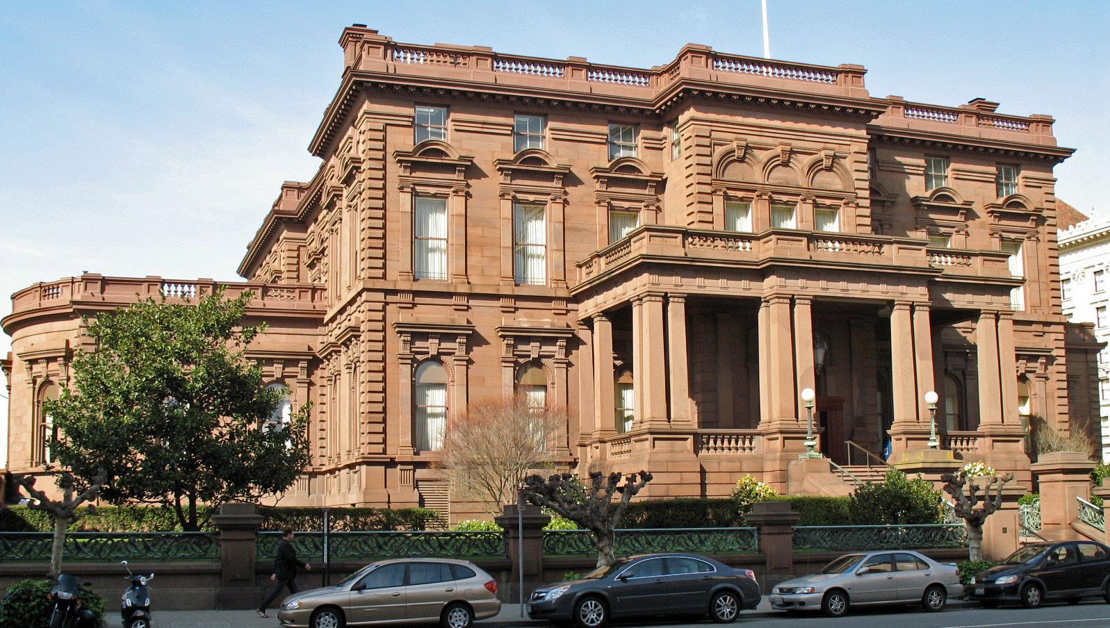 """James Flood Mansion (San Francisco) 4"" by Sanfranman59 - Own work. Licensed under GFDL via Wikimedia Commons - http://commons.wikimedia.org/wiki/File:James_Flood_Mansion_(San_Francisco)_4.JPG#/media/File:James_Flood_Mansion_(San_Francisco)_4.JPG"