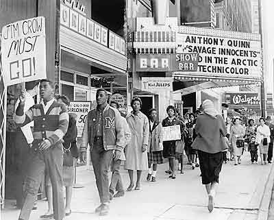 Civil Rights Demonstration. Integrating Louisville's Downtown In 1960, young members of CORE began weekly sit-ins at segregated businesses in downtown Louisville.  (image taken from KET Foundation)