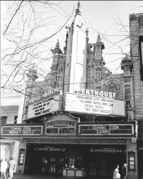 The Palace facade in 1978, as the Penthouse and United Artists Theater (image from the National Register of Historic Places)