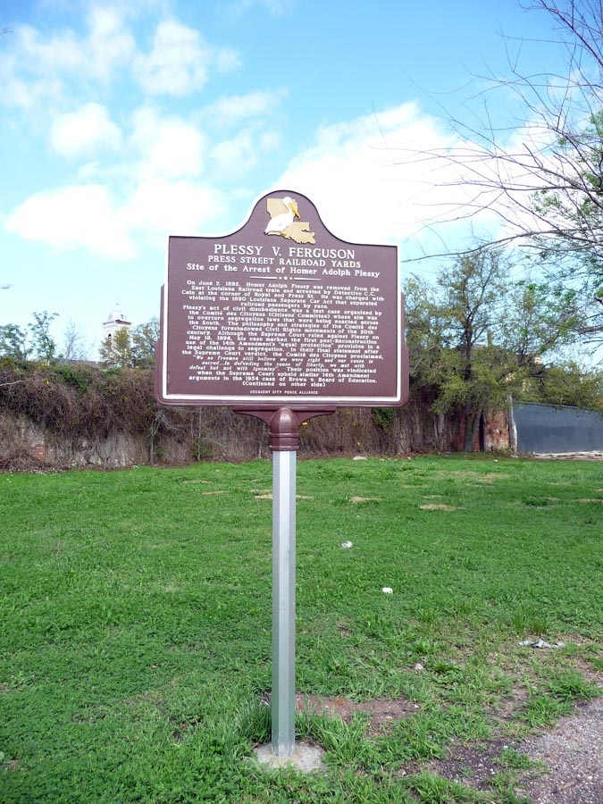 Located on the corner of Royal and Press street, the Plessy vs. Ferguson historical marker can easily be missed. The train yard still remains nearby, and most certainly the implications of this infamous trial still resonate through society today.