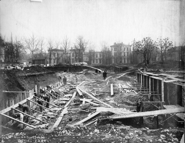 East view of the building site under construction in 1906 (image from the LFPL)