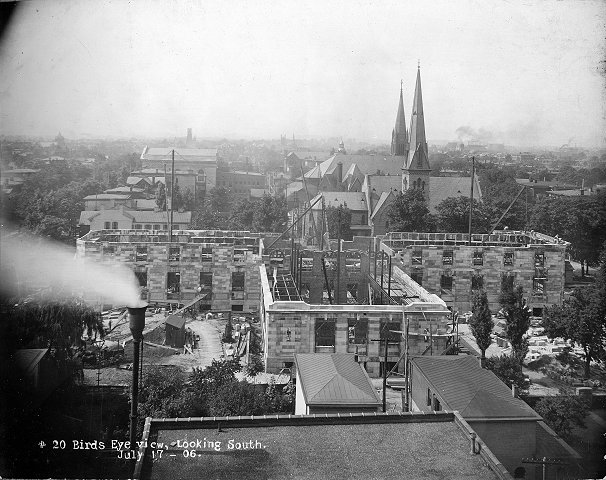 Bird's eye view of construction from the south, Sept. 1906 (image from the LFPL)