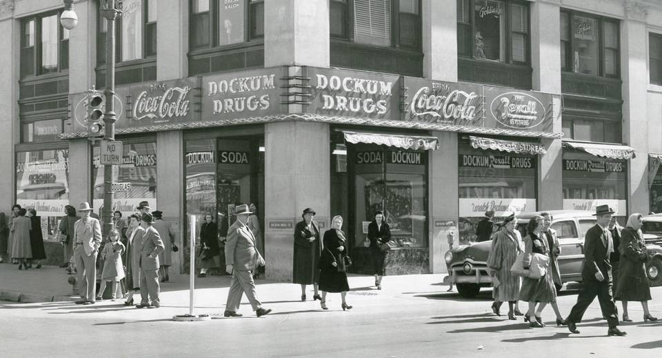 Dockum Drug Store as it appeared in the 1950s.