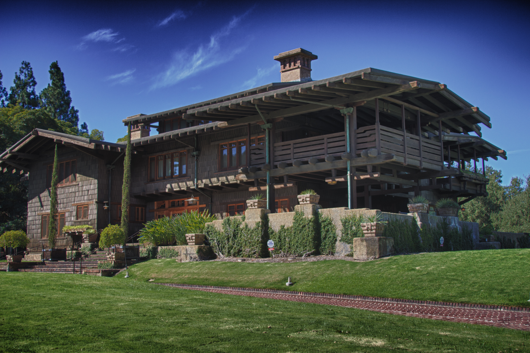 The Gamble House was built in 1908 and is a great example of Arts and Crafts style architecture.