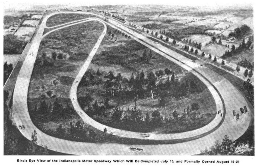 1909 artist's rendition of the original speedway plan (not an actual picture).