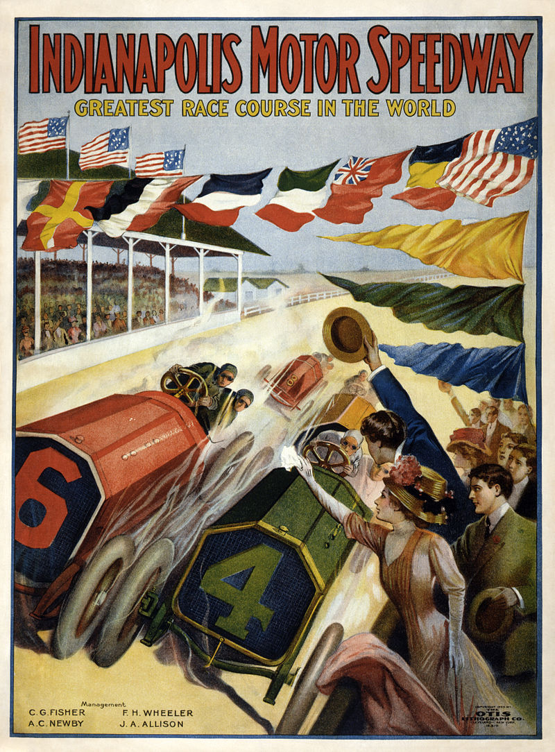 1909 poster advertising the speedway. Courtesy of the Library of Congress