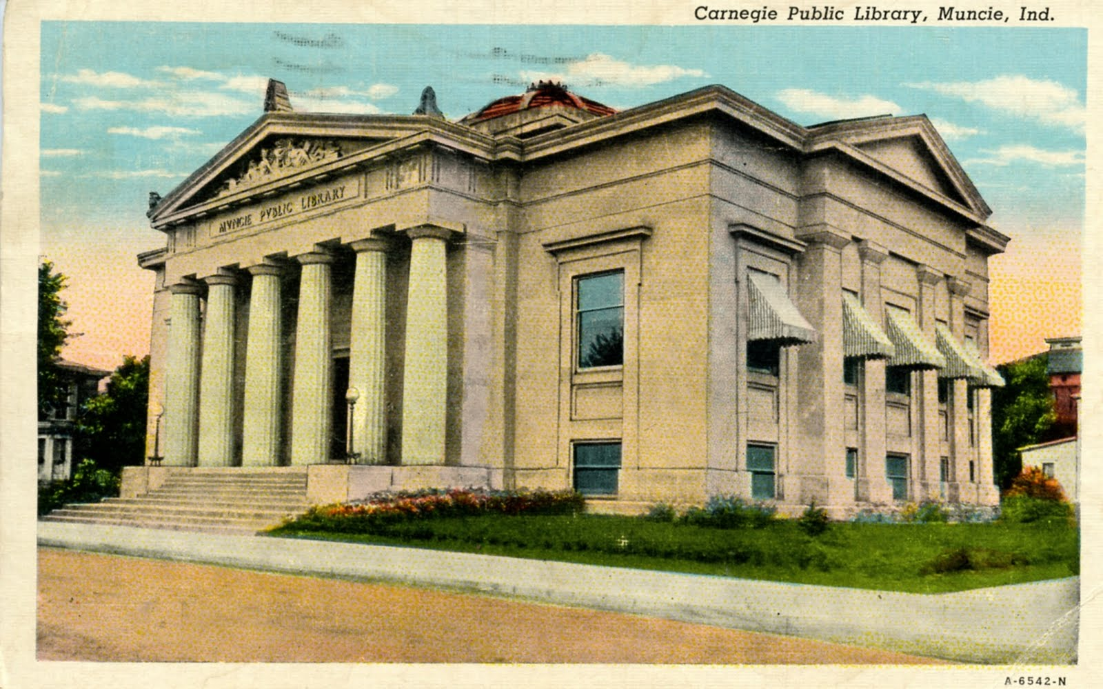 Postcard image of the library