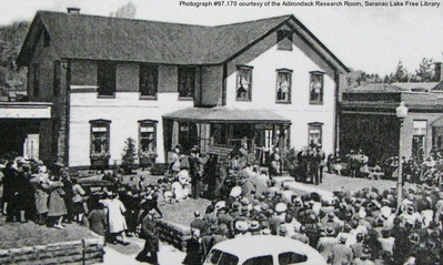Guild House ribbon-cutting, 1936, featuring opera singer Grace Moore.