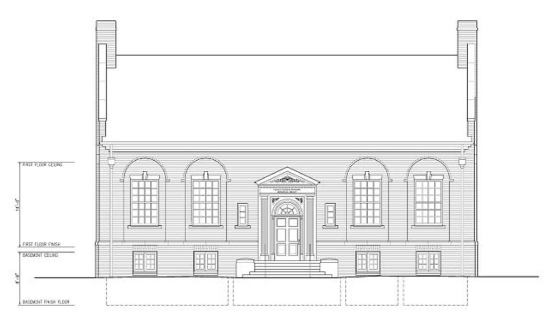 Measured drawing of front (west) elevation of Grace Keiser Maring Library, HABS Survey #IN-303 (Spodek 2006)