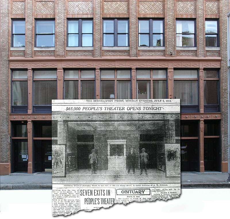 View of building as it appears today, with photo inset showing opening day of the People's Theatre.