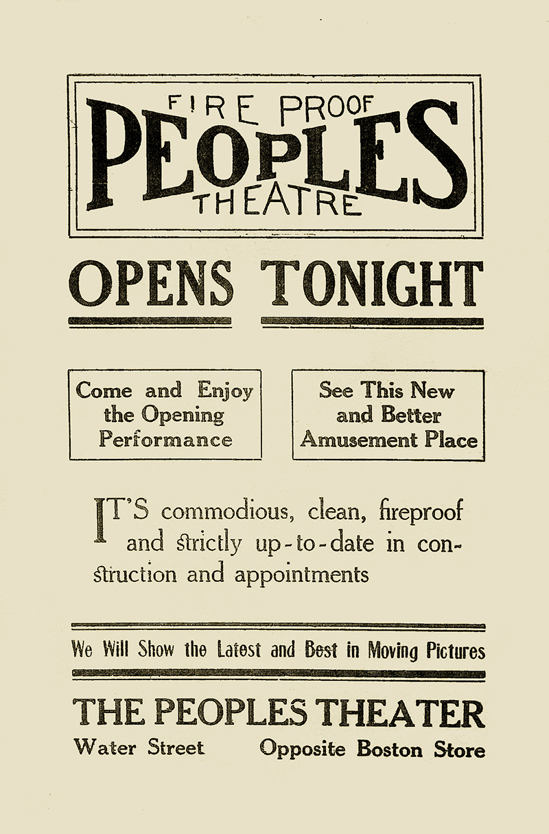 The People's Theatre opening day announcement.