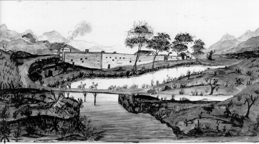 The fort in 1849, in a painting by John Hovey. Tens of thousands of acres around the fort were owned by Sutter, and were not developed until after he began to sell off land during the Gold Rush to pay his debts.