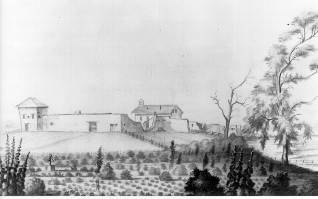 By 1854, the fort was already in disrepair, as Sutter had gone bankrupt two years earlier. Note the crumbling walls. The land around the fort was divided into lots and sold, becoming the city of Sacramento.(Society of CA Pioneers).