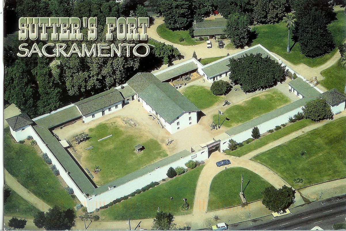 An aerial of the restored fort. Note the two blockhouses (watchtowers) on the corners. These were modeled after the blockhouses of Russia's Fort Ross, in Sonoma County, but built of adobe rather than redwood.