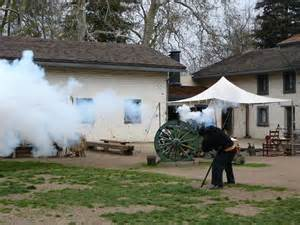 Cannons firing at Sutter's Fort. By the late 1840s, the fort may have had up to 24 cannons, purchased or reclaimed from various ships and other facilities. Many came to Sutter after he purchased the assets of Fort Ross.