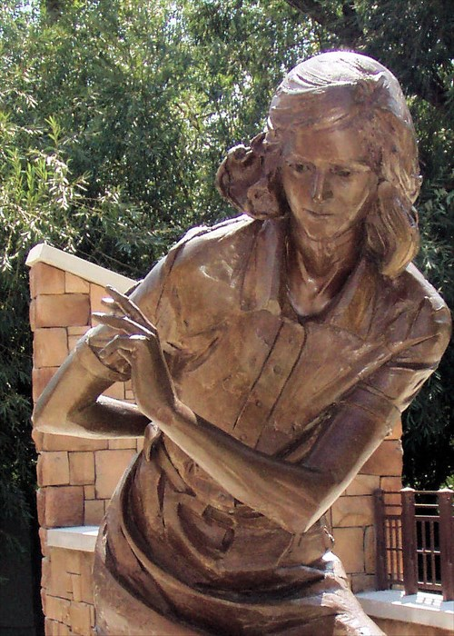The statue of Anne Frank