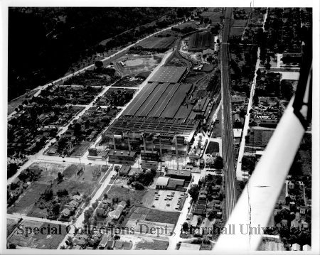 Aerial view of the factory, 1947