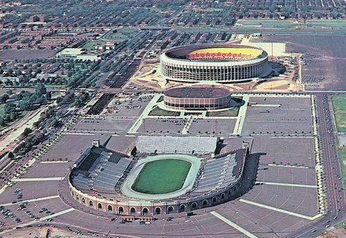 John F. Kennedy Stadium in 1971 with The Spectrum and Veterans Stadium in the background.