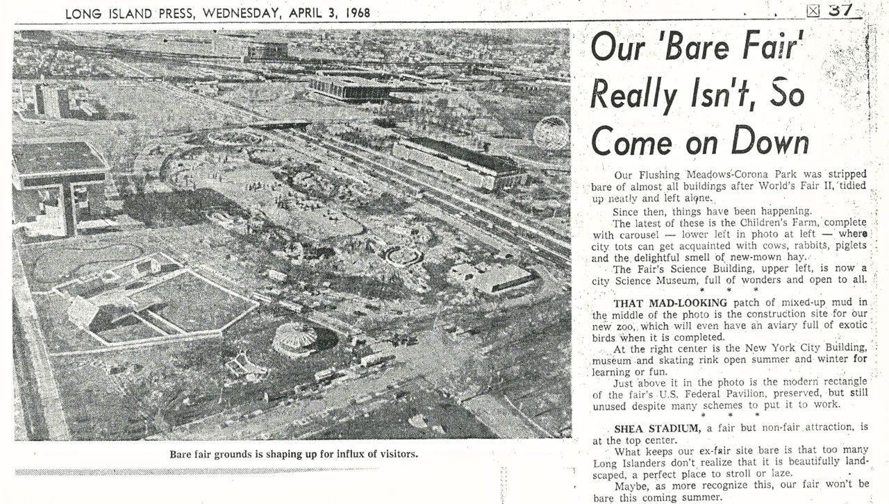 The Long Island Press of April 3, 1968 shows Flushing Meadows park as it transitioned from the World's Fair to its current use as an urban park anchored by the Hall of Science and other museums.