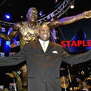 Magic Johnson at the unveiling of his statue located in front of the Staples Center.