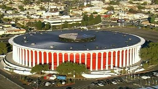 "The Forum today. The red color on the exterior is known as the ""Forum red."" The Forum serves as mainly a concert venue."