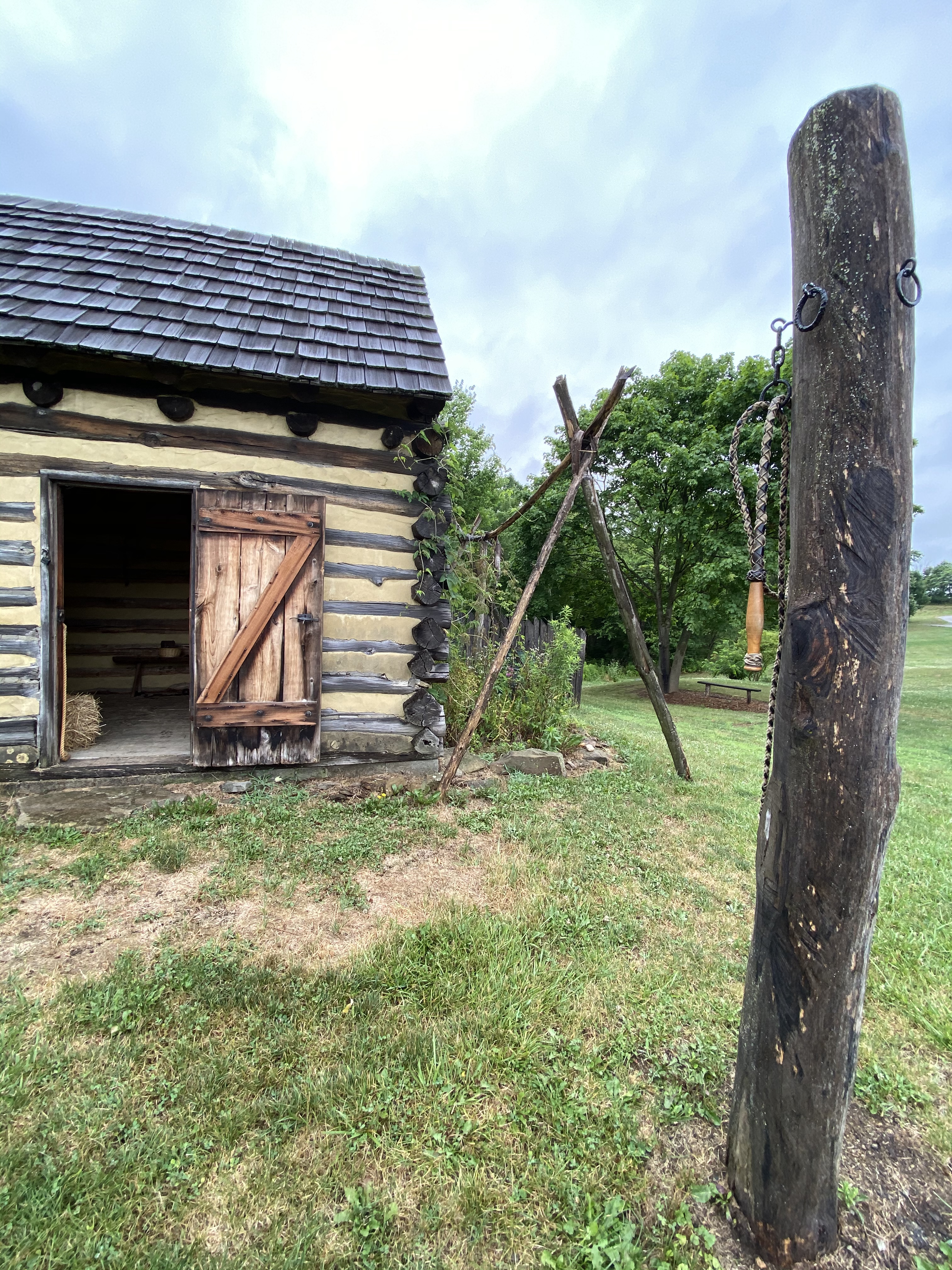 The Gaol and whipping post at Hanna's Town.
