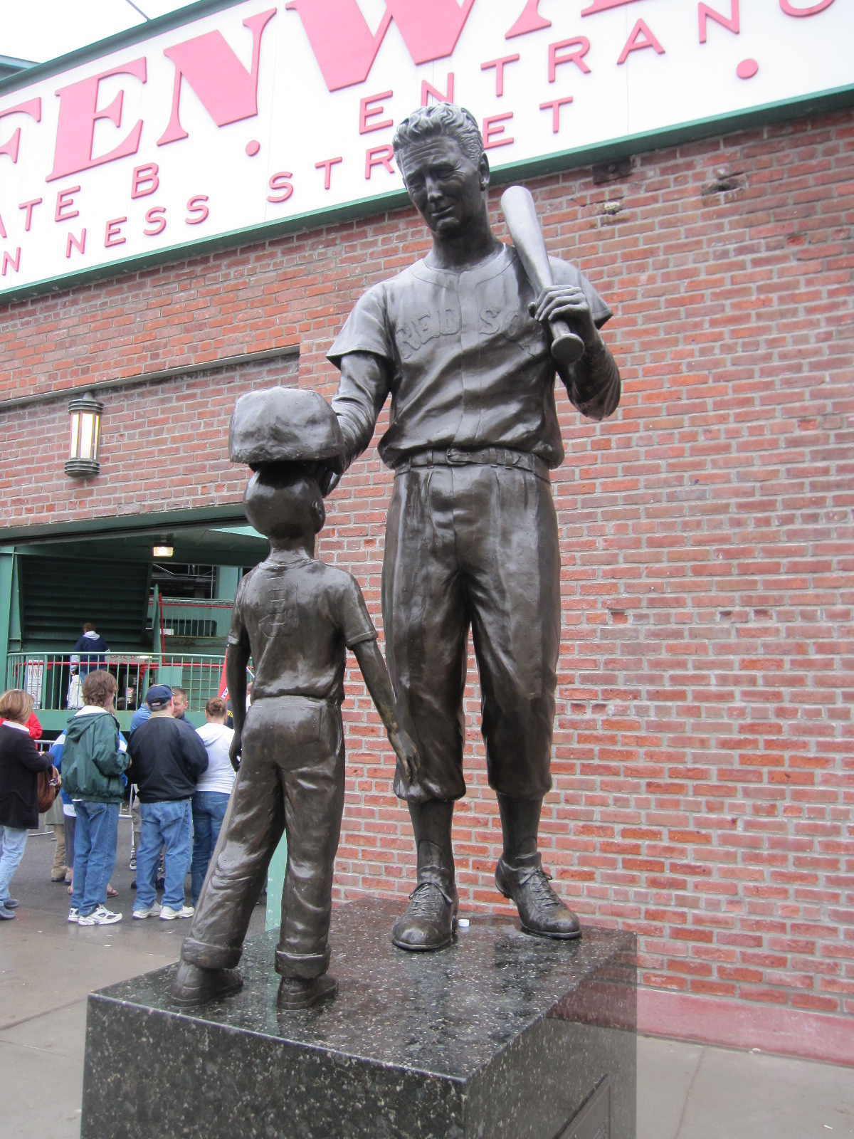 Ted Williams outside Gate B at Fenway Park