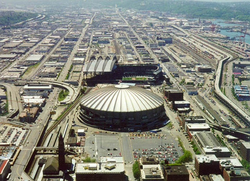 Aerial view of the Kingdome.
