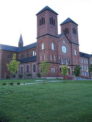 The front of Conception Abbey.
