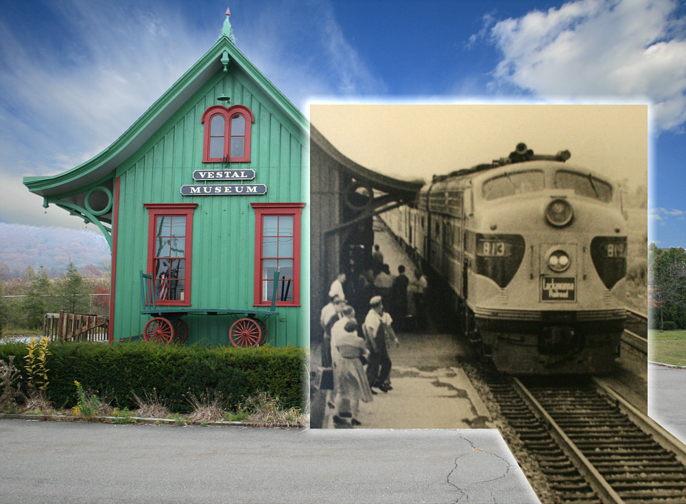 The Vestal Museum as it appears today, with photo inset of the Pheobe Snow's last stop at the station in 1959.