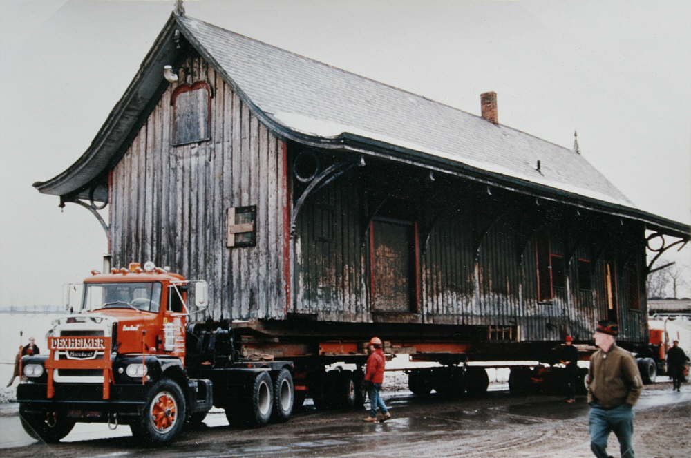 Transporting the building to its new location in 1972.