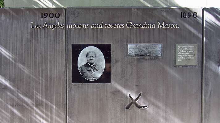 The wall depicting a timeline of Biddy Mason's life in Biddy Mason Park, downtown Los Angeles.