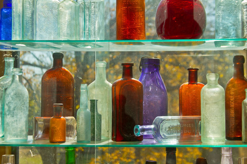 The unique glass bottle collection at the Washington Irving Trail Museum