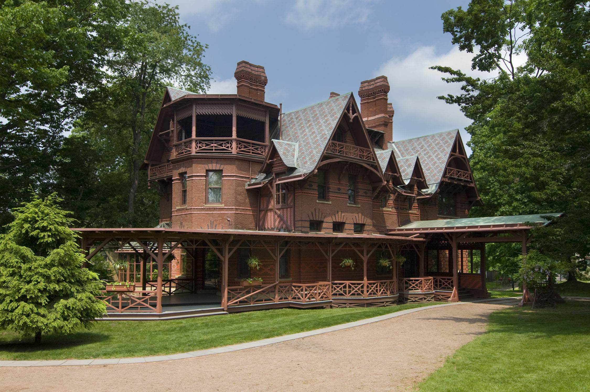 The Mark Twain House located in Hartford, CT, home of Samuel Clemens from 1874-1891