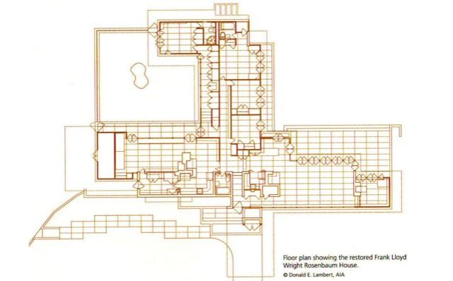 Floor plan for the Rosenbaum House.