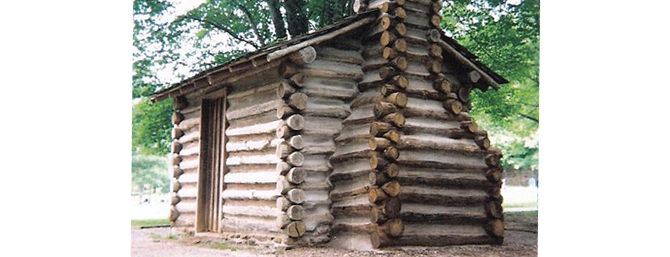 Replica of Thomas Walker's cabin in the other side