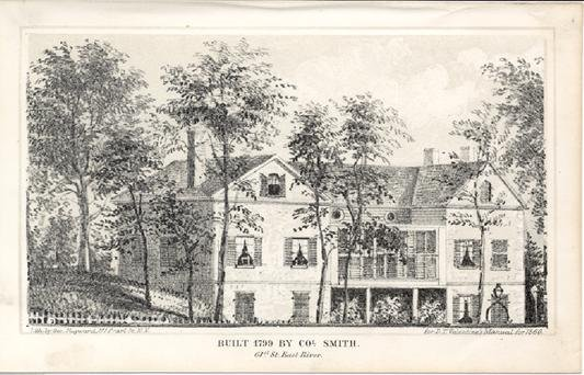 An etching of Mount Vernon surrounded by trees and nature.