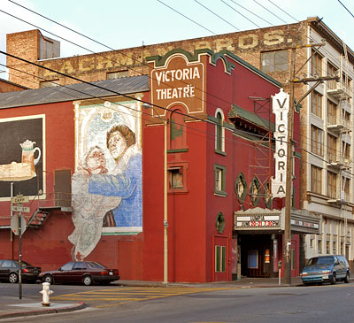 A street view photograph of the Victoria Theatre after being refurbished. From 2003.