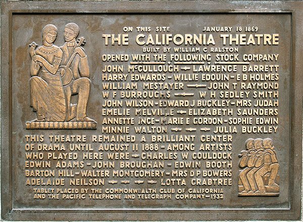 The California Historical Landmark plaque for the California Theatre, located on the side of Pacific Telephone Building.