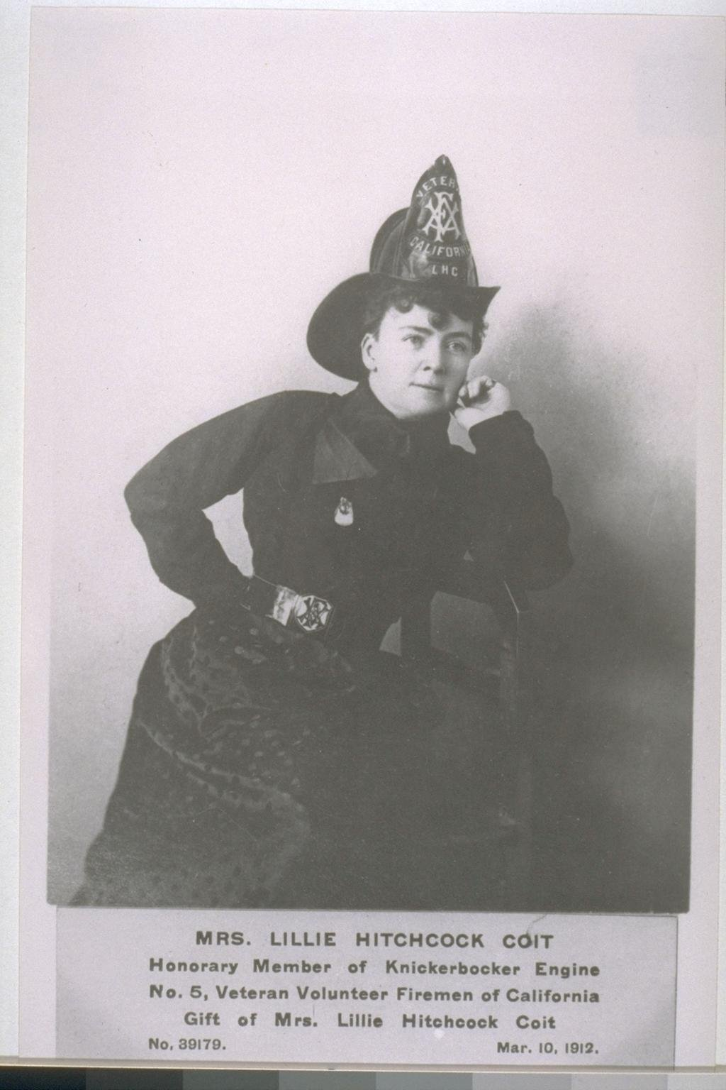 """Mrs. Lillie Hitchcock Coit, namesake of the Tower. Her fascination with firefighters may have stemmed from losing two friends to a blaze as a young girl. She is often called the """"matron saint"""" of San Francisco firefighters for her tireless support."""