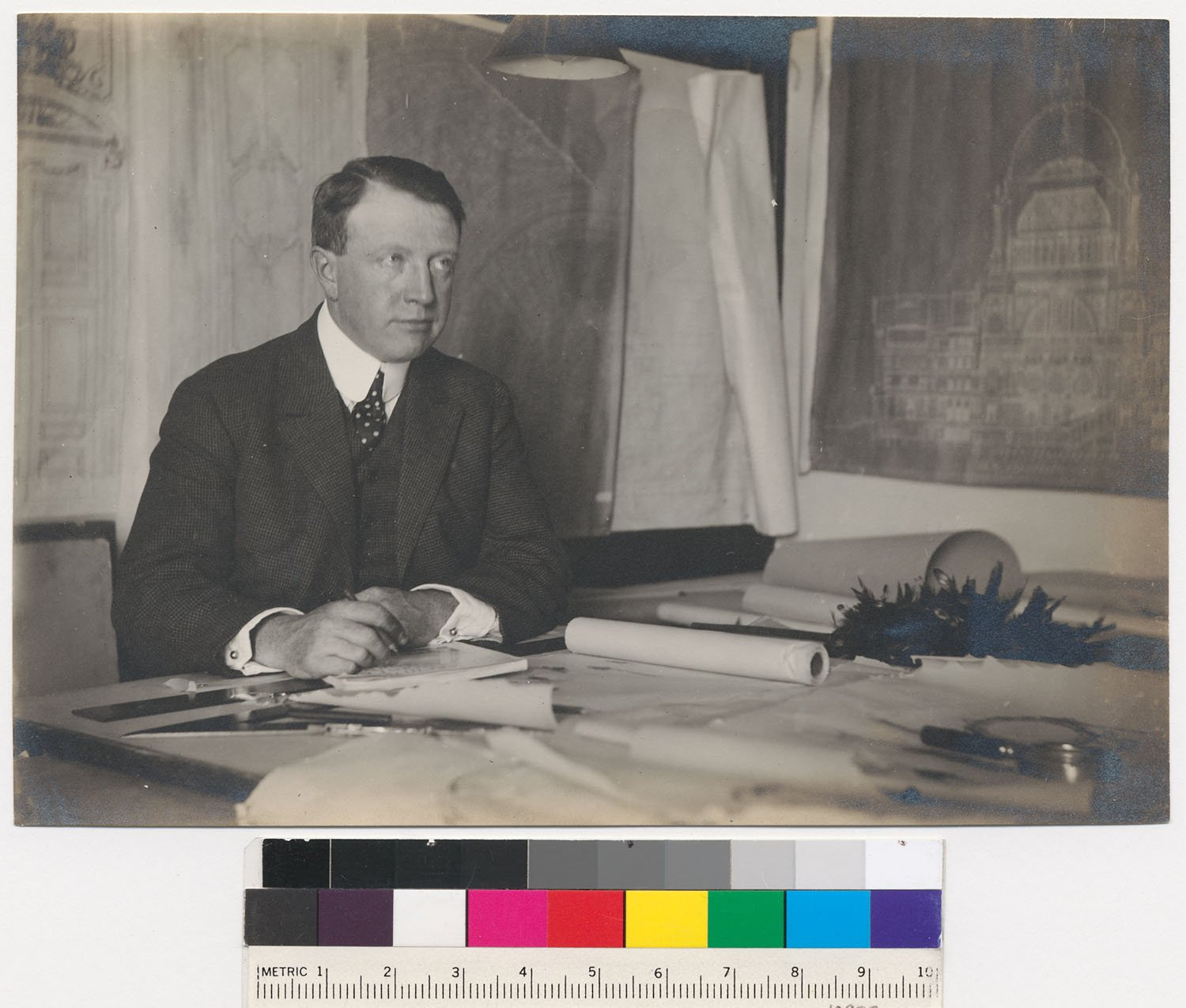 Architect Arthur Brown, Jr. in 1915. His design for Coit Tower was not always well-received, despite his previous success with San Francisco City Hall and the War Memorial Opera House.