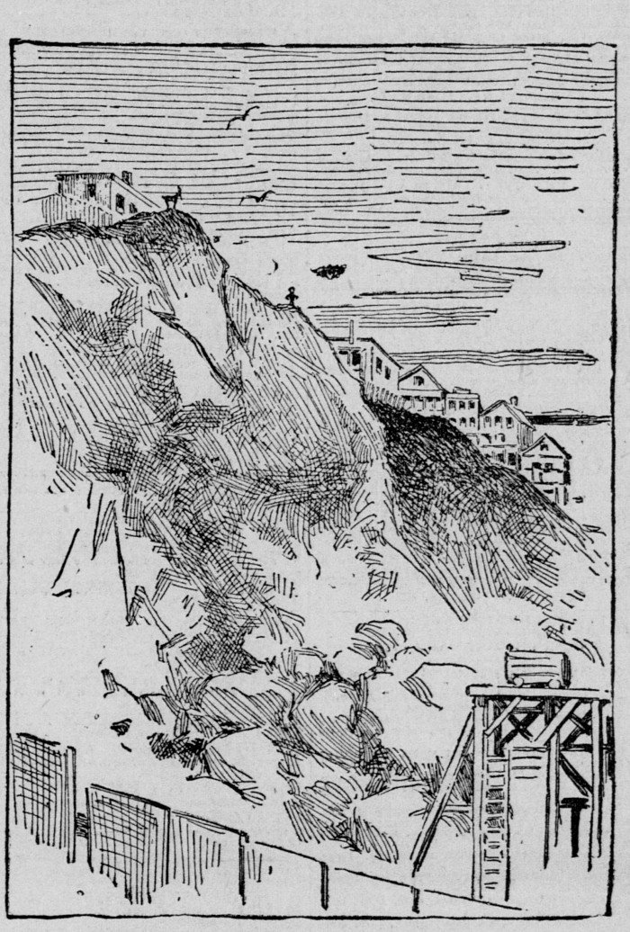 An 1890s sketch of Telegraph Hill as part of a newspaper article detailing damage from the stone quarry.