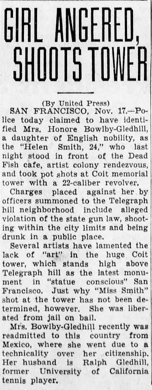 Several November 1933 articles like this (San Bernardino Sun, Nov. 18) detailed the story of a girl who fired at the tower with a pistol--such was the extremity of response at times inspired by Brown's design.