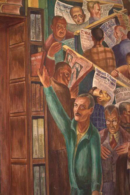 A segment of Bernard Zakheim's mural depicts a man (modeled after fellow artist John Langley Howard) plucking a book by Karl Marx from a shelf--one of several communist references that caused controversy.
